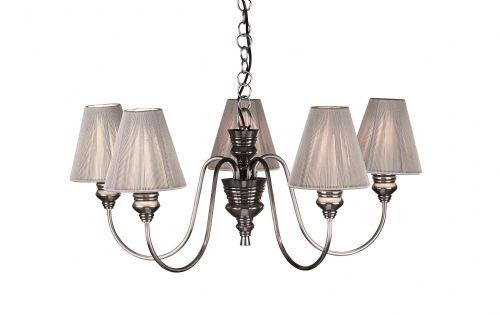 Dar Doreen 5 Light Pendant Pewter complete with  String Shades DOR0567